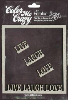 Petaloo Live Laugh Love Frame Color Me Crazy Chipboard Embellish 4 Pcs