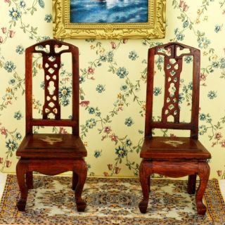 Dollhouse Living Room Furniture Vintage China Chair X2