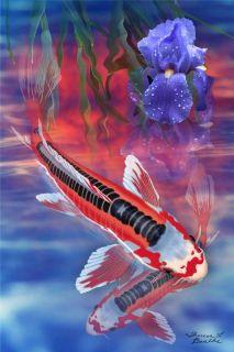Live Koi Fish Sunset Shusui Koi Pond Painting Limited Edition 5 of 100