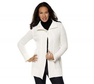 Liz Claiborne New York Textured Sweater Coat Ribbed Cuffs Ivory 1X NEW