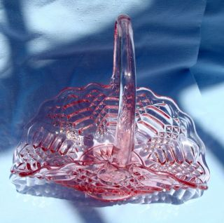 Vintage Le Smith Pink Glass Basket Mint Marked s on Bottom