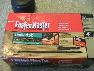 timberlok screws, by fasten master, 250 pc box w/drive log hosue or