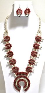 Coral Squash Blossom Sterling Necklace Earrings Set Lisa Williams