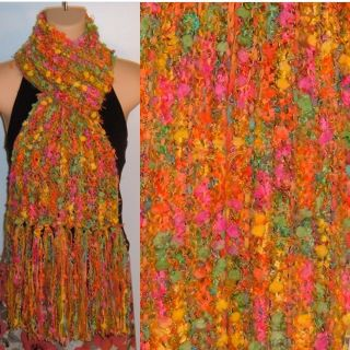 Hand Knit Gypsy Scarf Tropical Fruit Designer Bohemian Handmade New