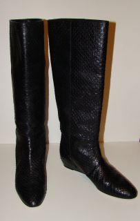 Loeffler Randall Ladies Black Python Snake Knee High Boots 9