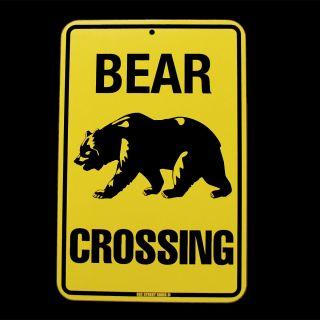 Caution Bear Crossing Danger Sign Log Cabin Lodge Decor