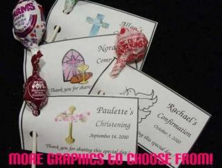 Baptism Christening Lollipop Holders Tags Favors Personalized