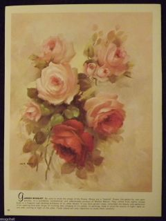 1989 Book Print Garden Bouquet Original Art by Lola Ades