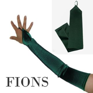 Long Forest Green Fingerless Satin Wedding Opera Gloves Dance Costume
