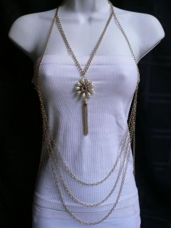 Women Long Gold Necklace Cream Beads Flower Fashion Body Chain Jewelry