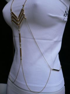 NEW WOMEN LONG NECKLACE CELEBRITY GOLD METALS BEADS FASHION BODY CHAIN