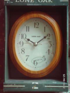 Lone Oak 8 Oval Wall Clock w Wood Frame Glass Face
