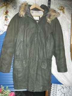 Lone Pine Leather Long Coat with Fox Fur Trim Removable Hood Womens M