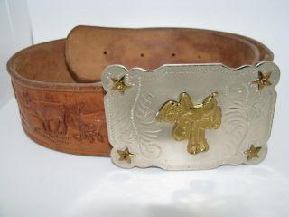 LIVE OAK Nickel Silver buckle brown WESTERN leather SADDLE belt 31