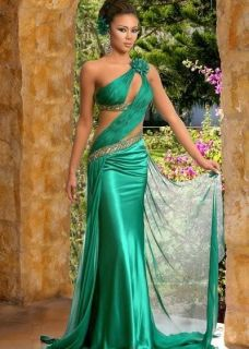 NEW Green Long Formal Evening Ball Gown Bridesmaid Party Prom Sz 6 8