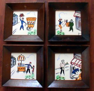 Retro Mid Century Jaru Framed Ceramic Tile Wall Art Paris Theme 4