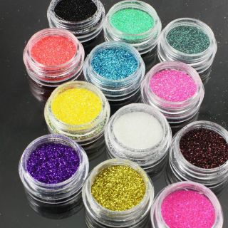 12 Colors Glitter Powder Powder UV Gel Nail Art Tip LM