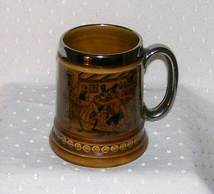 Lord Nelson pottery tankard from 50s 60s  silver/platinum trim