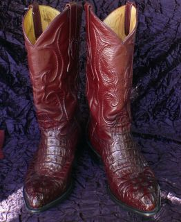 Los Altos Western Wear Burgundy Caiman Hornback J Toe Cowboy Boots