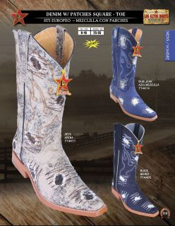 Los Altos Square Toe Denim w Patches Mens Western Cowboy Boot Diff