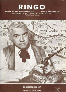 Lorne Greene 1964 Sheet Music Ringo Mint