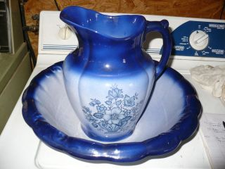Vintage Flow Blue Iron Ware Bowl N Pitcher