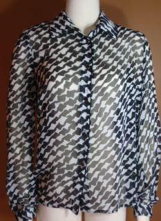 Louben Sheer Black White Blouse Top Shirt