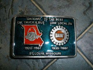 General Motors Chevrolet St Louis Truck Bus Plant UAW Belt Buckle 1987