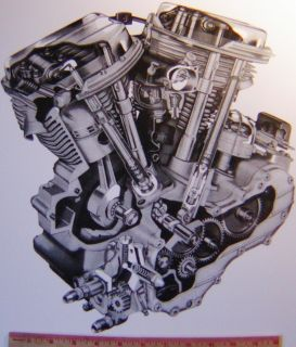 Old Harley Panhead motor poster collectible HD motorcycle engine