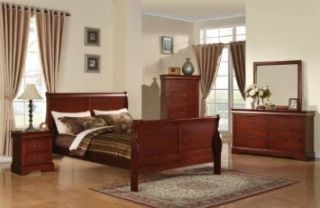 Louis Philippe III Queen Bed Set Headboard Footboard Bed Room