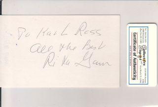 Rita Gam Actress Grace Kelly Bridesmaid Signed Index Card COA