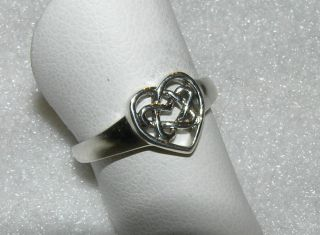Heart Ring Celtic Love Knot Sterling Silver Eternity