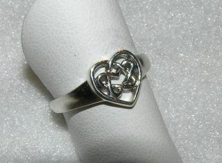 Heart Ring Celtic Love Knot Sterling Silver Eternity