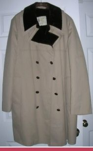 London Fog Size 46 L Top Coat Trench Coat Faux Fur Collar and Lining