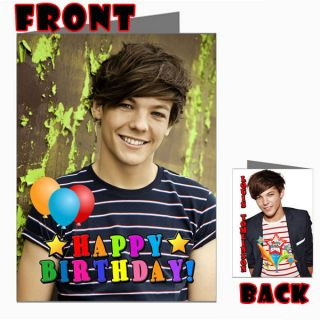 LOUIS TOMLINSON ONE DIRECTION 1D Front Back Happy Birthday Picture