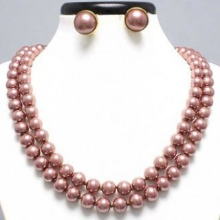 Ink Brn Faux Pearl Beads 46 Long Necklace Clip Earrings Set