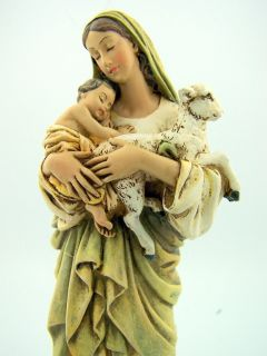 Virgin Mary Baby Infant Christ Jesus Lamb Statue NR