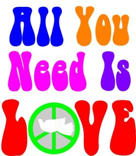 All You Need Is Love Sixties Hippie Cooking Apron