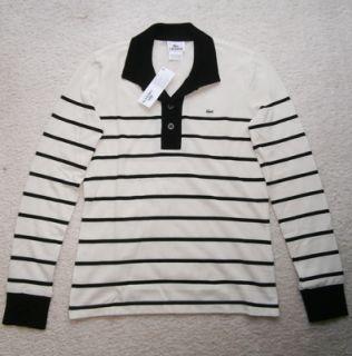 Women Lacoste Long Sleeve Striped Polo T Shirt, Nacre / Noir, Size 6