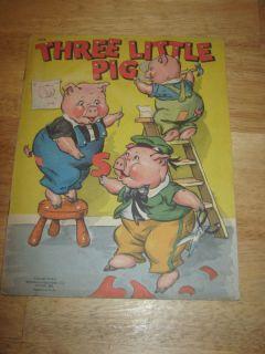 Vtg Chidrens Book Three Little Pigs Copyright 1942 Whitman Publishing