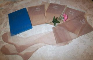 SEAMED NYLON STOCKINGS 4 PR CUBAN 9.5 ~ 31 LOVELACE 60 GAUGE 15 DENIER