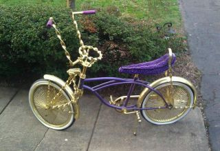 Lowrider Brand Bicycle Gold Purple Chopper Cruiser