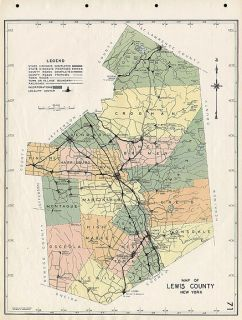 COUNTY NEW YORK authentic Vintage Map 16x20 LOWVILLE NY made in 1941