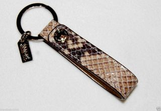 92898 Python Embossed Gray Leather Loop Key Fob Split Key Ring Snake