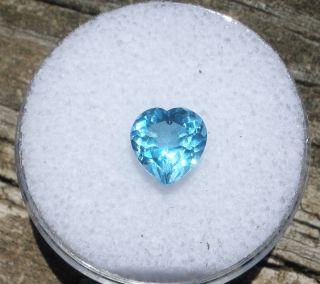7mm Loose Heart Shape Natural Swiss Blue Topaz Gem