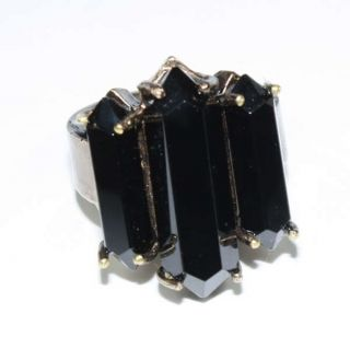 Low Luv Gold Small Black Triple Crystal Ring Size 6