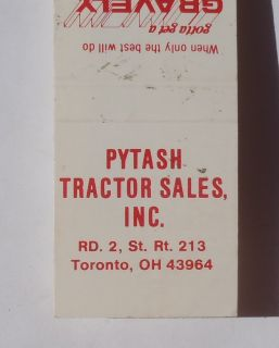 1970s Matchbook Gravely Pytash Tractor Sales Rt 213 Farming Toronto OH