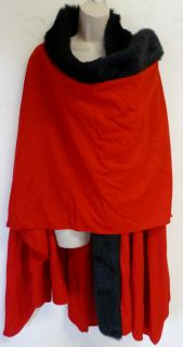 SUSAN LUCCI Wool Blend Wrap CAPE Red Black Faux Fur Poncho Sweater