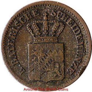 Germany Bavaria 1 Kreuzer Small Silver Coin Ludwig II KM 487