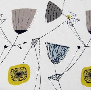 fabric Lucienne Day Perpetua vtg 50s Heals revival retro DIY cushion